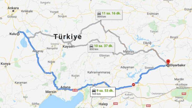 Kulu Diyarbakır Arası Kaç Km