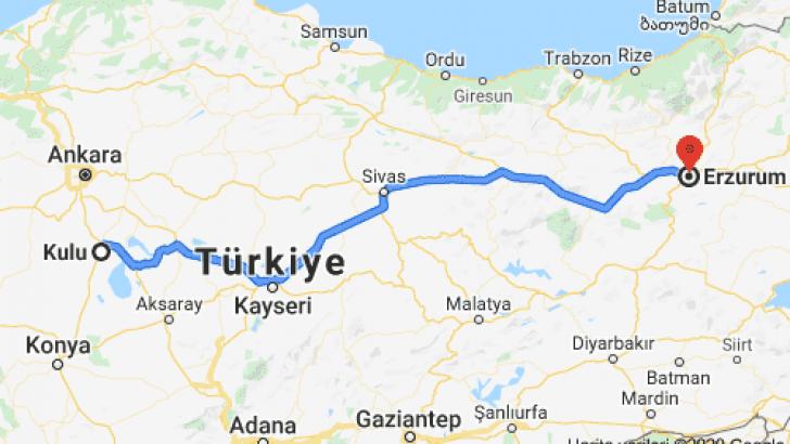 Kulu Erzurum Arası Kaç Km